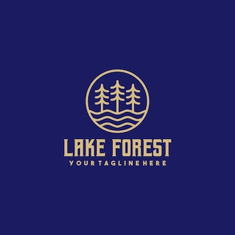 Logotipo do contorno criativo da floresta do lago