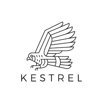 Logotipo do contorno do pássaro kestrel em monoline