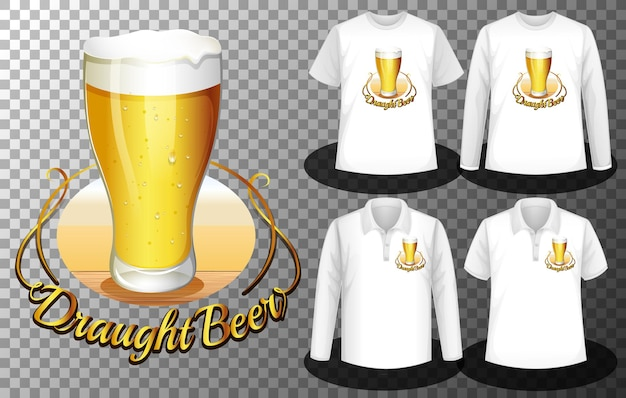 Logotipo do copo de cerveja com conjunto de diferentes camisas com tela do logotipo do copo de cerveja nas camisetas