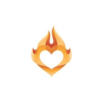 Logotipo do coração amor e chama de fogo