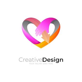 Logotipo do coração, amor e logotipo da seta para caridade