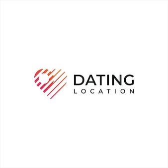 Logotipo do coração de namoro e logotipo do local, estilo plano simples abstrato