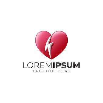 Logotipo do coração do trovão