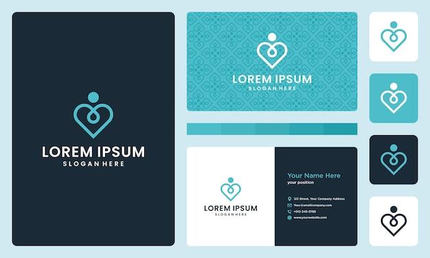 Logotipo do coração e pessoas gostam de ioga. modelo de design de cartão de visita