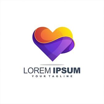 Logotipo do coração gradiente impressionante