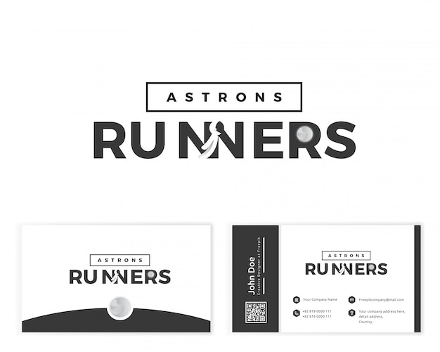 Logotipo do corredor de astronauta com artigos de papelaria cartão de visita