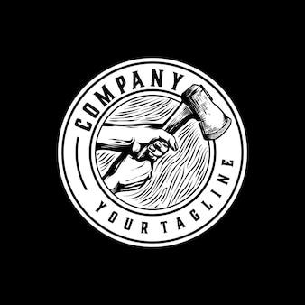 Logotipo do cortador de madeira vintage