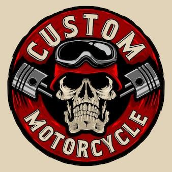 Logotipo do costume dos motociclistas do crânio