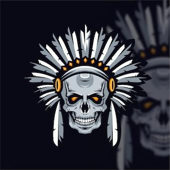 Logotipo do crânio apache esport