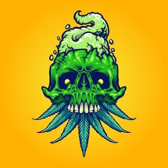Logotipo do crânio de cannabis logotipo da mascote de fumaça de erva daninha