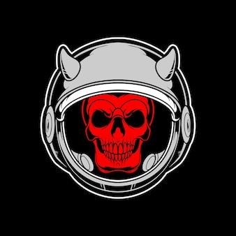Logotipo do crânio do astronauta