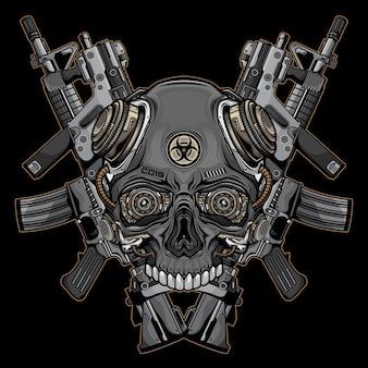 Logotipo do crânio e armas de fogo