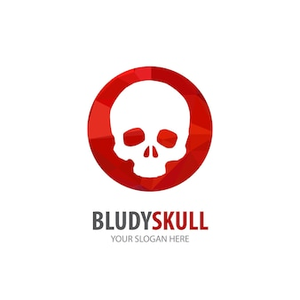 Logotipo do crânio sangrento para empresa de negócios. projeto de ideia de logotipo de crânio sangrento simples. conceito de identidade corporativa. ícone de crânio sangrento criativo da coleção de acessórios.