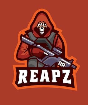 Logotipo do crânio soldado e esportes