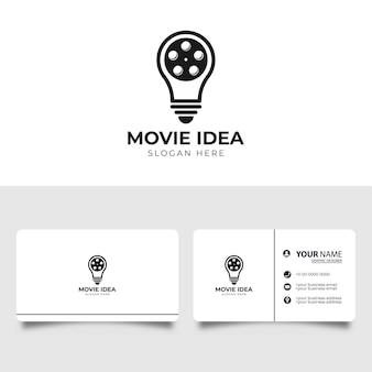 Logotipo do creative bulb film movie com design de cartão de visita