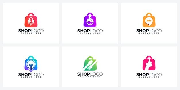 Logotipo do creative shopping ou coleção de design de ícone