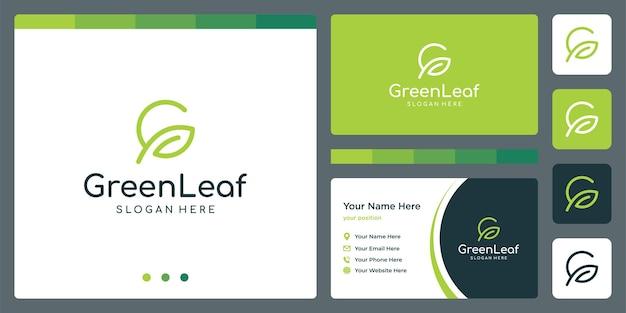 Logotipo do crescimento da folha com iniciais da letra g e modelo de design de cartão de visita. vetor premium