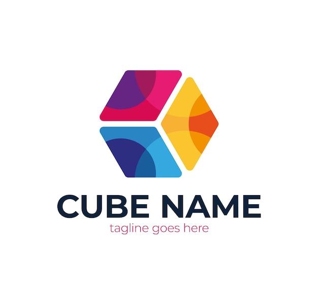 Logotipo do cubo abstrato.