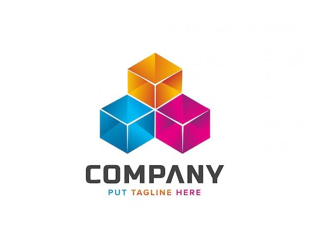 Logotipo do cubo colorido