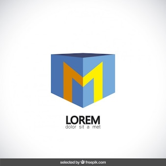 Logotipo do cubo com a letra m