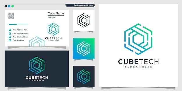 Logotipo do cubo com estilo de tecnologia de arte de linha e design de cartão de visita