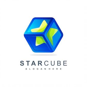 Logotipo do cubo da estrela pronto para uso