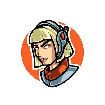 Logotipo do cyber girl gamer sport