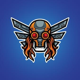 Logotipo do cyber skull e sport