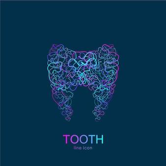 Logotipo do dente em estilo linear. molde do vetor do projeto do sumário do dente da clínica dentária. logotipo médico, ícone.