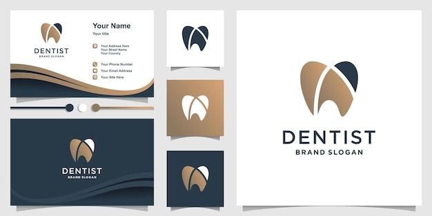 Logotipo do dentista com conceito criativo moderno premium vector