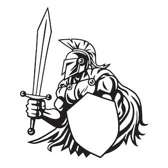 Logotipo do desenho de linha do guerreiro espartano