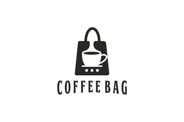 Logotipo do design da sacola e mistura de café na sacola
