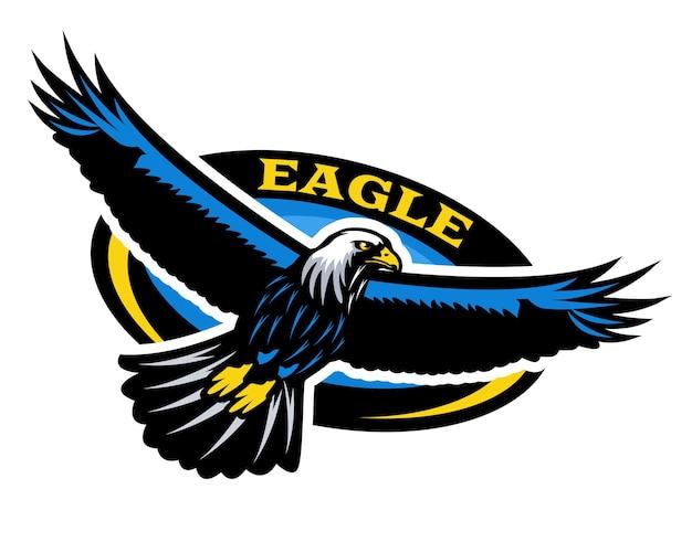 Logotipo do design do emblema da águia voadora