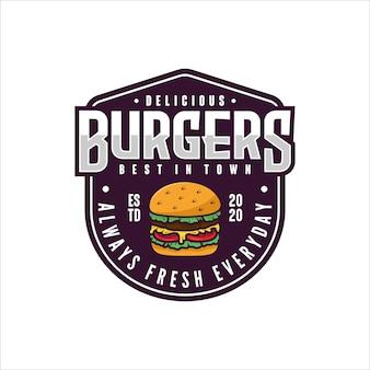 Logotipo do design do emblema da burgers