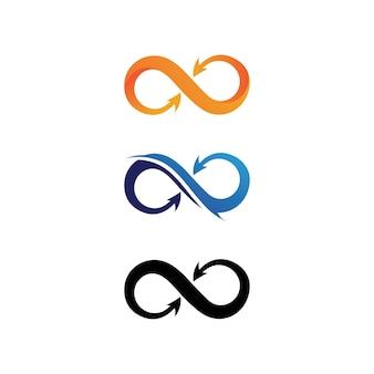 Logotipo do design infinito e 8 ícones, vetor, sinal, logotipo criativo para negócios e símbolo infinito corporativo