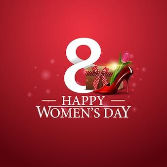 Logotipo do dia da mulher feliz com o número oito e sapato feminino