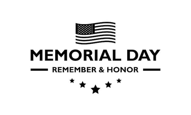 Logotipo do dia do memorial dos eua preto em um fundo transparente. vetor de estoque. eps10