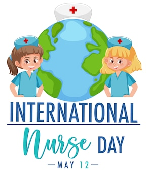 Logotipo do dia internacional da enfermeira com enfermeiras bonitas no fundo do globo