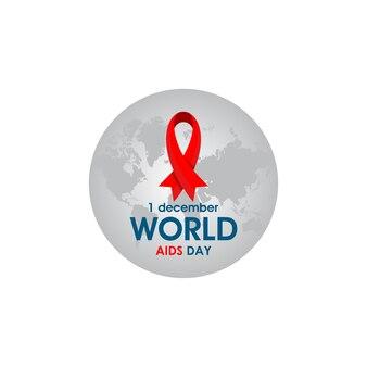 Logotipo do dia mundial da aids com fita vermelha