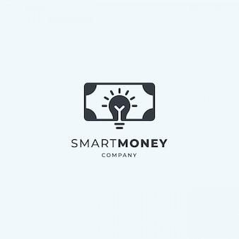 Logotipo do dinheiro inteligente. lâmpada luminosa com notas. crowdfunding, economia, idéia de design de investimento.