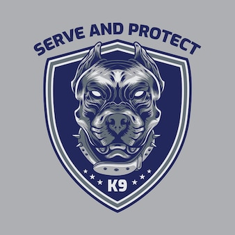 Logotipo do distintivo de serviço de segurança da american pitbull