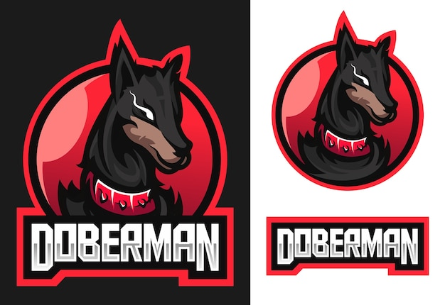 Logotipo do doberman mascot esport