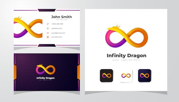 Logotipo do dragão colorido com cartão de visita