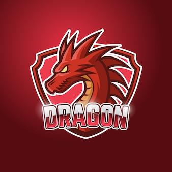 Logotipo do dragon esport vermelho