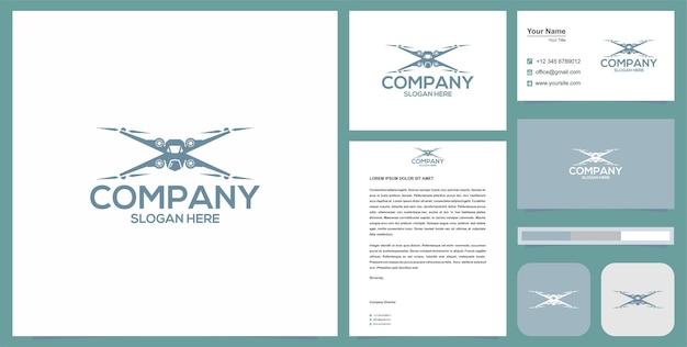 Logotipo do drone com cartão de visita