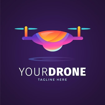 Logotipo do drone gradiente criativo
