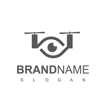 Logotipo do drone ocular, fotografia aérea símbolo