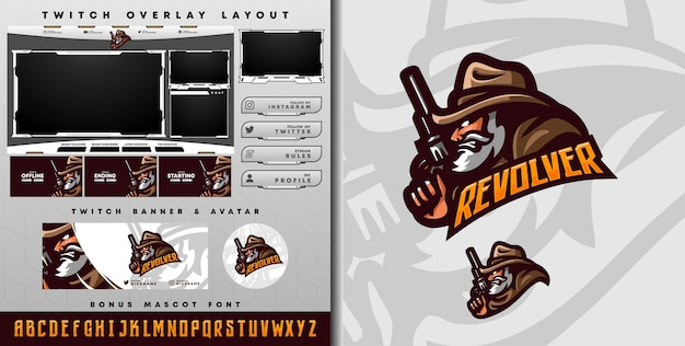 Logotipo do e-sport e modelo twitch de cowboy perfeito para mascote do time de e-sport e serpentina de jogo
