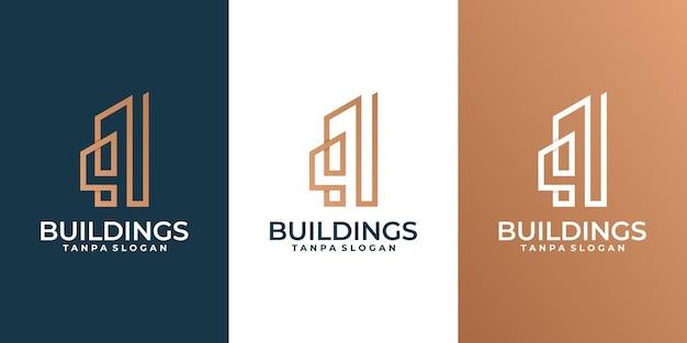 Logotipo do edifício criativo, imóveis, logotipo do arquiteto
