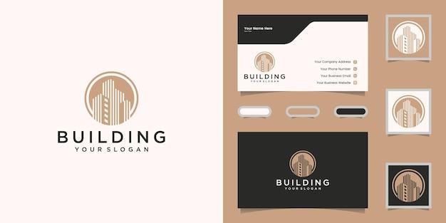 Logotipo do edifício de luxo com círculo e modelo de cor ouro